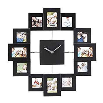 Buy All Aluminium Wall Clock with 12 Photo Frames Online at Low