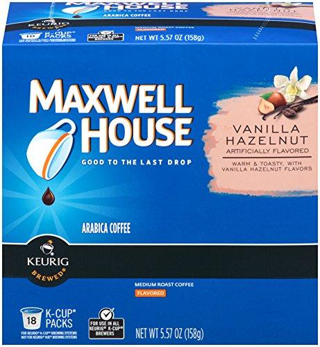 Maxwell House Vanilla Hazelnut Coffee, Medium Roast, K-CUP Pods, 18 count