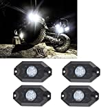 RGB LED Rock Light Kits with Bluetooth Control & Cell Phone Control & Timing & Music Mode & Flashing & Automatic Control & Color Grad Multicolor Neon Lights Under Off Road Truck SUV ATV Motorcycle