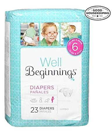 Well Beginnings Premium Diapers Jumbo Size 6 Fits 35 lb and over 2 Pack/23