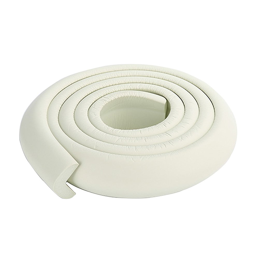 2x2M/13ft Protective Door Guard Protector Coffee Table Corner Bumpers Pool Edge Protector White Rubber