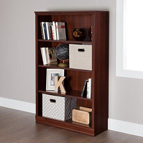 South Shore Morgan 4-Shelf Bookcase - Adjustable Shelves, Royal Cherry