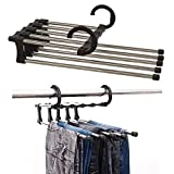 Easy to Assemble Trousers Hangers,Stainless Steel Multifunction Retractable Pants Hanger Rack Jeans Holder