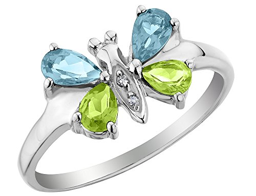 Blue Topaz and Peridot Butterfly Ring with Diamonds 1.0 Carat (ctw) in Sterling Silver