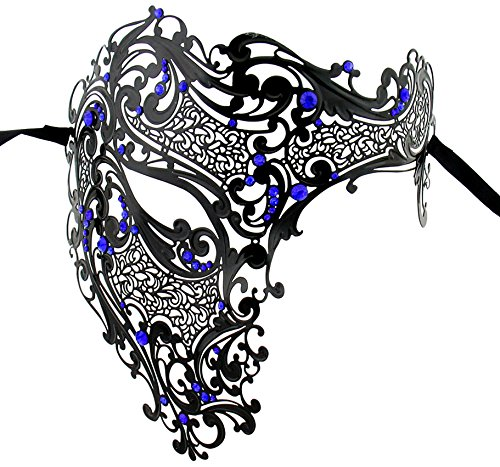 Luxury Mask Men's Signature Phantom Of The Opera Half Face Laser Cut Mask, Black/Blue Stones -