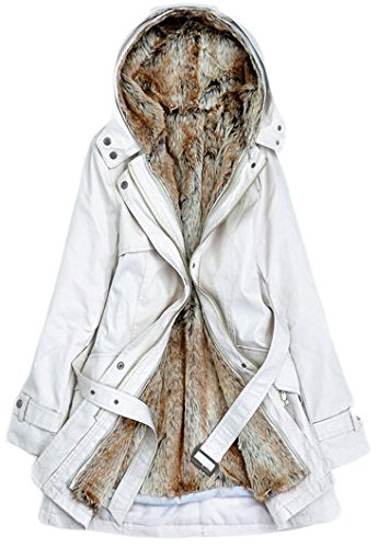 Trench Liner (Lingswallow Women Winter Thick Padded Detachable Liner Trench Coat Jacket 2XL Beige)