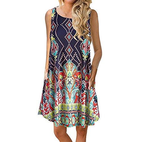Charming Tunic Dress - Luranee Navy Dresses for Women, Ladies Sleeveless Casual Summer Dress Flattering Slimming Nice Comfy Crew Neck Above Knee Church Wear Zulily Dress Tops Navy Blue Medium