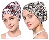 YI HENG MEI Women's 2 Pack Elegant Stretch Soft Floral Muslim Turban Chemo Beanie Head Wrap,G+H