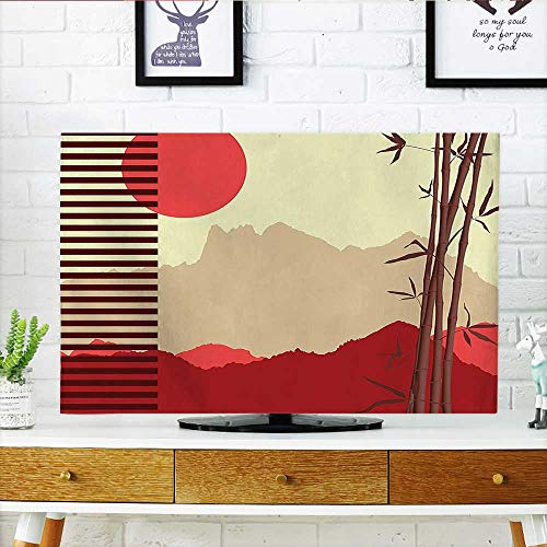 Auraisehome Television Protector Decor Collection Modern Artwork with Japanese Bamboos and Mountain Silhouette Sun Boho Image Television Protector W32 x H51 INCH/TV 55