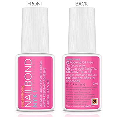 NYK1 Nail Bond Super Strong Nail Tip Bond Glue Adhesive - Perfect for False Acrylic Art Natural, Dimonties, Glitter, Rhinestones, Diamantes, Jewels, Gems, White Clear Tip Applications - Anti Fungal
