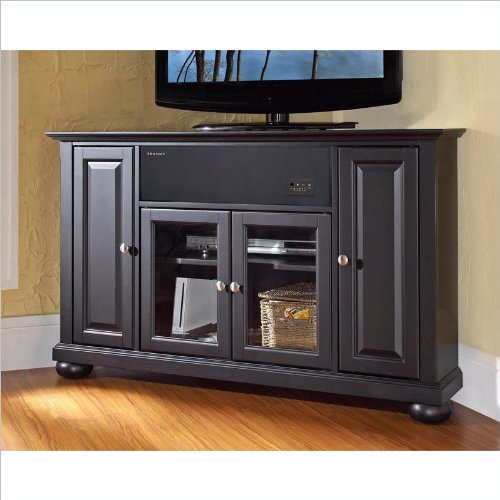 Crosley Furniture Alexandria 48-Inch Corner AroundSound TV Stand, Black Corner Tv Stand Armoire