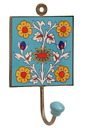 Handy Woman Costume (SouvNear Square Ceramic Iron Wall-Hook with Flower Design - An Artistic Way to Hang Clothes / Umbrellas / Bags / Hats / Belts / Wall Decor Accessories)
