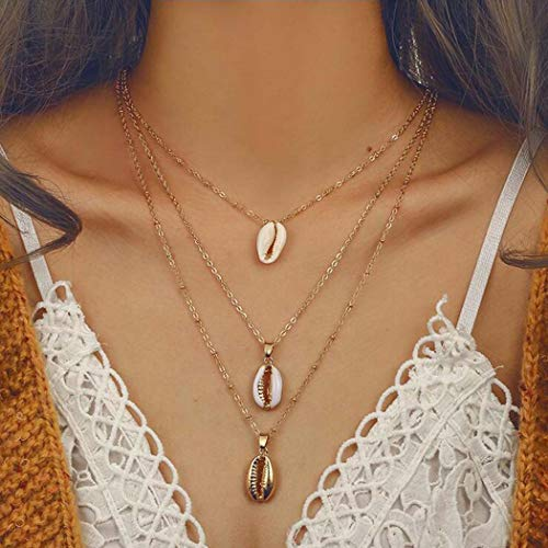 Zoestar Shell Necklace Multilayered Summer Gold Beach Pendant Chain Jewelry Accessories for Women and Girls ()