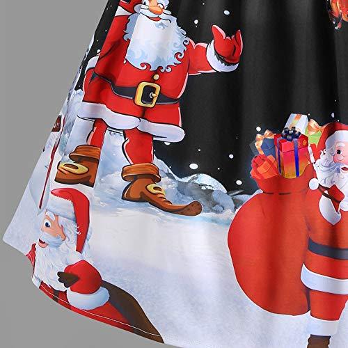 Fete Avec Et Femme Decollete Pan Dentelle Christmas Robe Motifs Longue Santa Imprimer Cintrée Noir Blanche Vetement Accessoires De 7w1qZZI