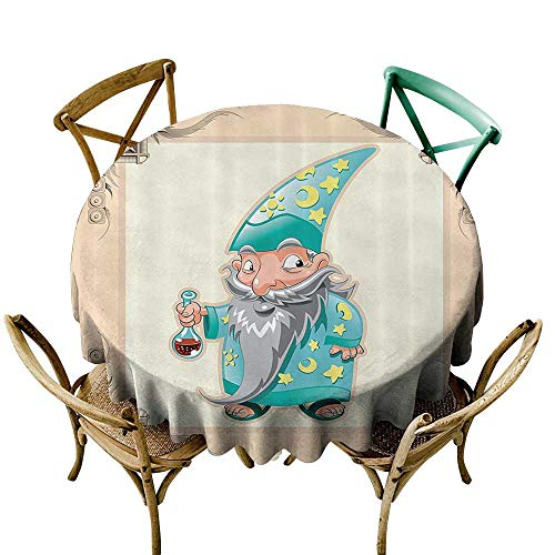 Waterproof Table Cover Medieval Decor Collection Funny Little Medieval Magician Illustration with Pyjamas Gothic Old Story Print Dinner Picnic Table Cloth Home Decoration 40 INCH Cream Blue Yellow