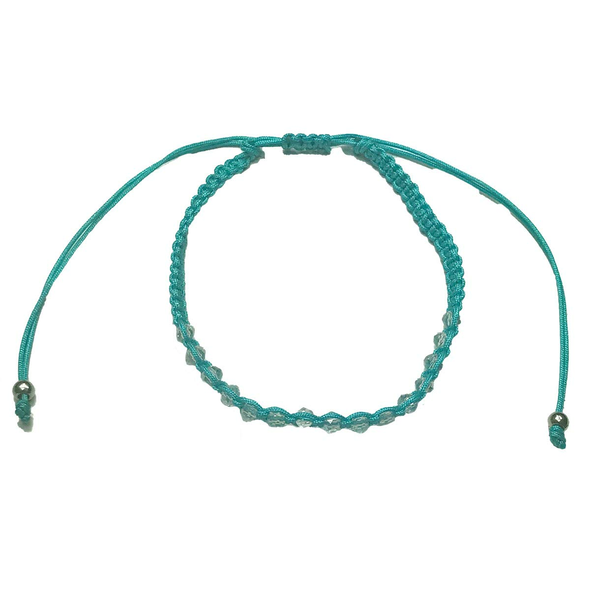 Molly /& Rose Girls Pastel Turquoise Corded Anklet with Clear Beads