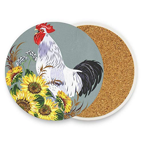 LoveBea Cock in A Thicket of Sunflowers Coasters, Prevent Furniture from Dirty and Scratched, Round Cork Coasters Set Suitable for Kinds of Mugs and Cups, Living Room Decorations Gift 1 Piece