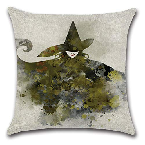 Nunubee Happy Halloween Decorative Throw Pillow Cover Linen Cushion Cover 18x18 Inch - Witch b