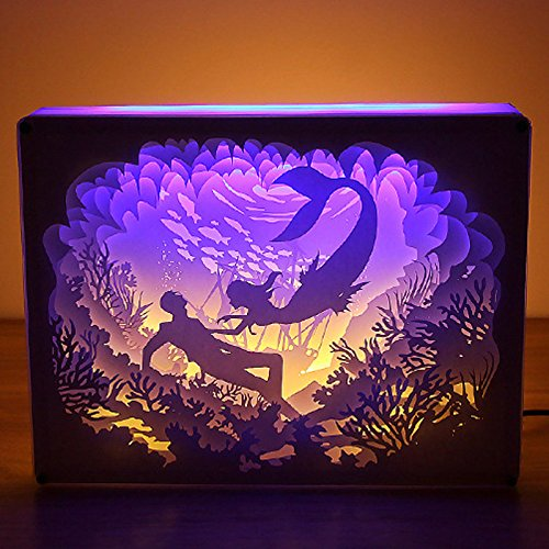 3D Shadow box LED Night Light, Papercut Light Boxes, Decorative Night Lamp with USB Mood Light for Baby Nursery Kids Bedroom Living Room (picture 2) (Breathing Productions Problem)
