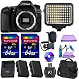Canon EOS 80D Digital SLR Camera + Extra Battery + 2pc 64GB Memory Cards + Deluxe Case + LED Light + Paging Zone Cleaning Kit