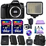 Canon EOS 80D Digital SLR Camera + Extra Battery + 2pc 64GB Memory Cards + Deluxe Case + LED Light + Paging Zone Cleaning Kit For Sale
