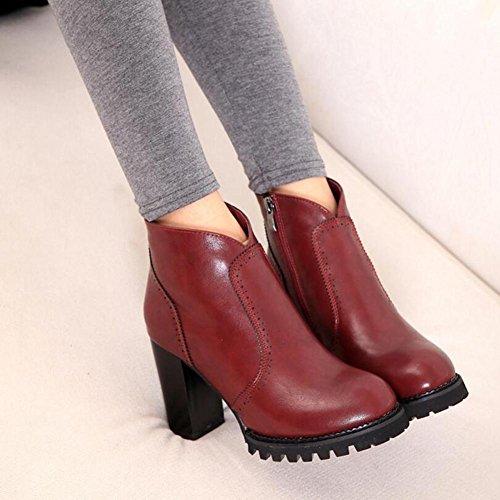 L@YC Botas De Mujer OtoñO Y Invierno Grueso Con Una Gruesa Cabeza Impermeable Botas Redondas Zapatos De TacóN alto Red