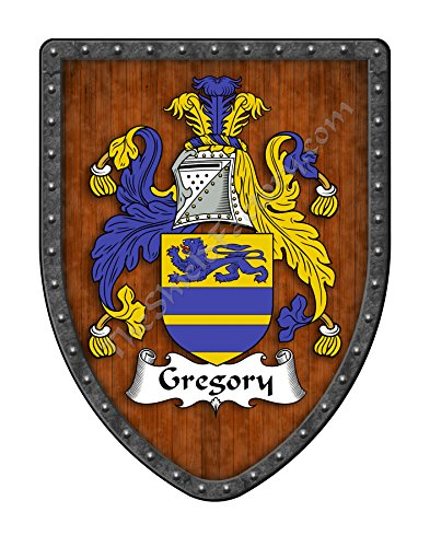 Gregory Family Crest Custom Coat of Arms , Family Ancestry and Heritage Hanging Metal Wall Plaque Shield - Hand Made in the - Steel Gregory Products