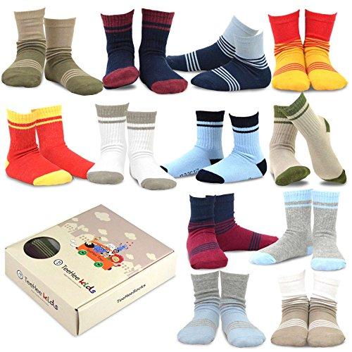 Block Stripe Socks - TeeHee Kids Boys Cotton Basic Crew Socks 12 Pair Pack (9-10Y, Stripes Color Block)