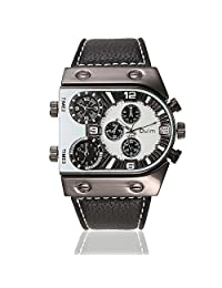 OULM Men's Business Military Mutil Time Zone PU Leather Band Quartz Waist Watches-White