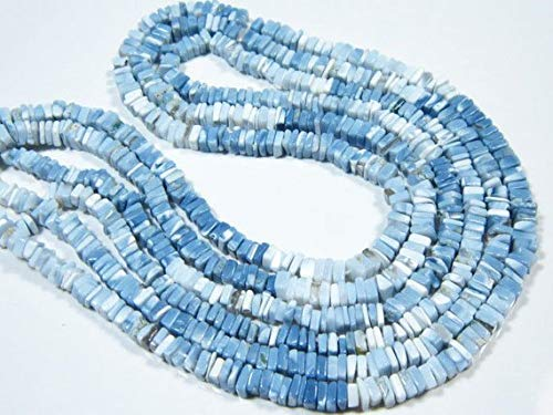 17Strand-Stone measures AA-African Blue Opal Smooth Cube Heishi 4mm-B750