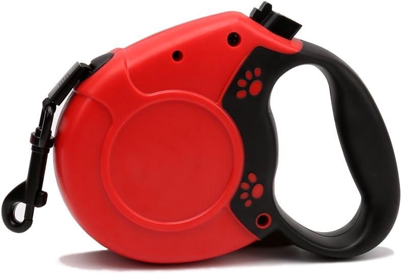 ALSKY 愛犬用リード 伸縮リード ペット格納式ドッグチェーン 牽引ロープ 自動巻き 荷重40kg 50kg 中型および大型犬用ひも (8M丸ロープ, 赤)