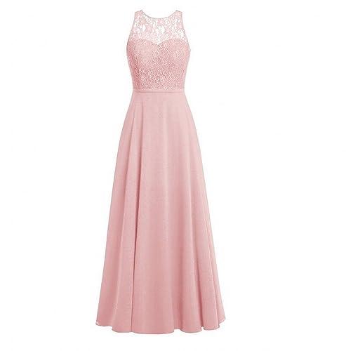 AK Beauty Women's Crew Neck Lace Bridesmaid Dresses Long Chiffon Prom Gown