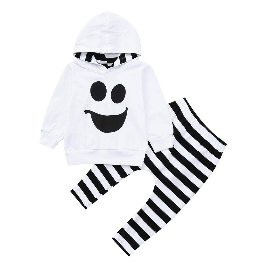 Toddler Baby Boys Girls Hoodies + Striped Long Pant Leggings 2 Piece Halloween Outfits Set (White, 3T) DesigN