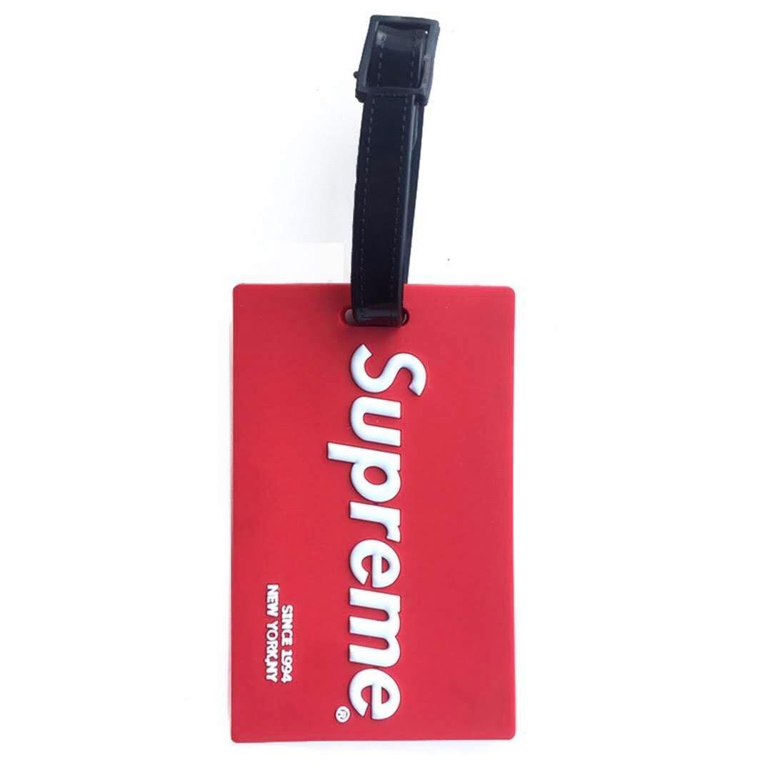 Supreme Rubber Red New York Luggage ID Tag Sup Name Bag Card Holder Travel Suitcase Baggage Handbag Sidebag
