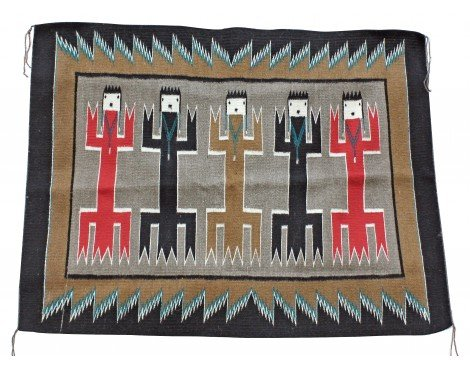Perry Null Trading Anna Grey, Yei Bi Chi Rug, Holy People, Navajo Handwoven, 36 in x 48 - Rug Yei