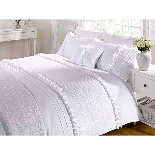 Vintage Chic Ruffle Bettwäsche-Set Seersucker Bettwäsche Set, Kopfkissenbezug, Tropen-Design, Baumwollmischung, weiß, Einzelbett