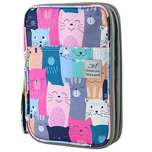 YOUSHARES 192 Slots Colored Pencil Case, Large Capacity Pencil Holder Pen Organizer Bag with Zipper for Prismacolor Watercolor Coloring Pencils, Gel Pens for Student & Artist (Learning Cat)