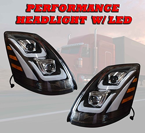 - QSC Headlights Headlamps Assembly w/LED Left & Right Pair for Volvo VNL 04-17