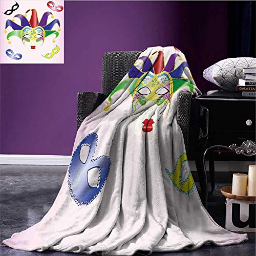 RenteriaDecor Masquerade Throw Blanket Abstract Style Illustration of Christmas Carnival Masks Jester Design Print Lightweight All-Season Blanket Multicolor Bed or Couch 70