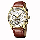 Men's Tourbillon Automatic Watch Self-winding Leather Watches Analogue Wrist Watch with Luminous Hands