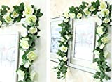 Lannu 2 Pack Artificial Rose Vine Flowers Fake Garland Ivy Flowers Silk Hanging Garland Plants for Home Wedding Party Decorations (16 HEAD CREAM)