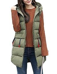 Fulok Womens Loose Hooded Sleeveless Puffer Down Vest Jacket Coat