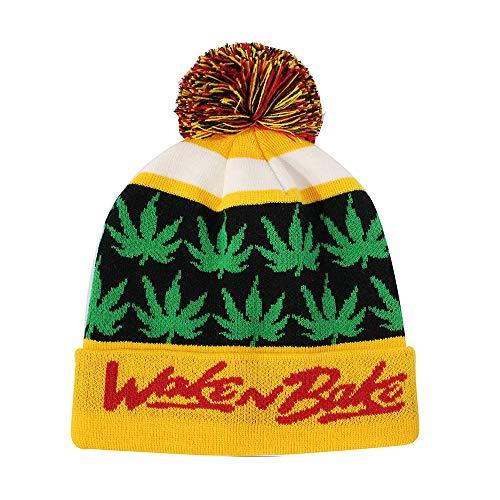 (ChoKoLids Aloha Pineapple Pom Pom Beanie Fun Novelty Hats (Wake N Bake (Gold)))