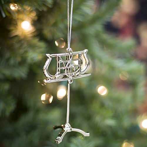 Silver Music Stand Music Instrument Replica Christmas Ornament, Size 3.5 inch by Broadway Gift (Image #1)