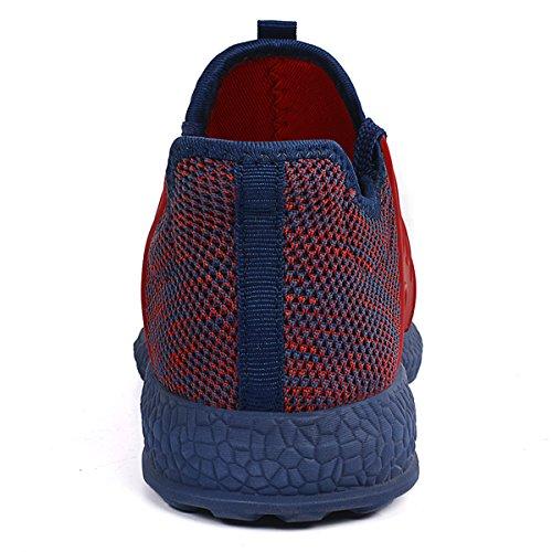 Feetmat Herren Sneakers Leichte atmungsaktive Mesh Gym Freizeitschuhe Rot blau