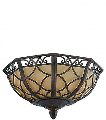 Jeremiah 36483-PR Evangeline 3 Light Flush Mount Light Fixture with Amber Frost Glass, Peruvian Bronze