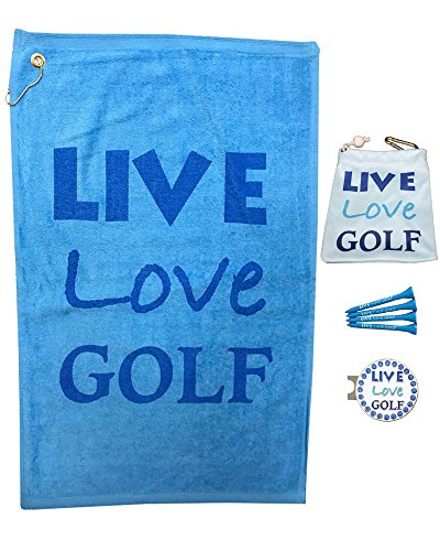 Giggle Golf Par 3 - Live Love Golf Towel, Tee Bag And Bling Ball Marker With Hat Clip - Perfect Golf Gift For Women -