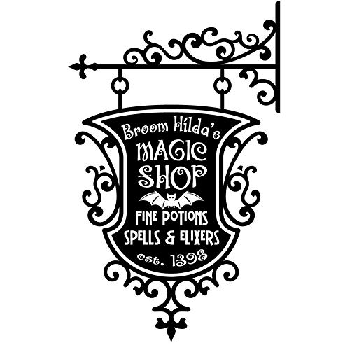 Vinyl Wall Sticker Decal Quote Home Decor Happy Halloween Broom Hildas Magic Shop Sign Living Room Carving Sticker for Holiday Party Home Window -