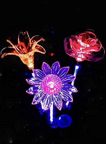 Cheap Outdoor Solar Garden Lights – Flower Stake Light with White LED Stake for Lawn Yard Landscape Patio Pathway Walkway – Color Changing Night Operated Waterproof Decoration Luces solares Lily Rose Daisy