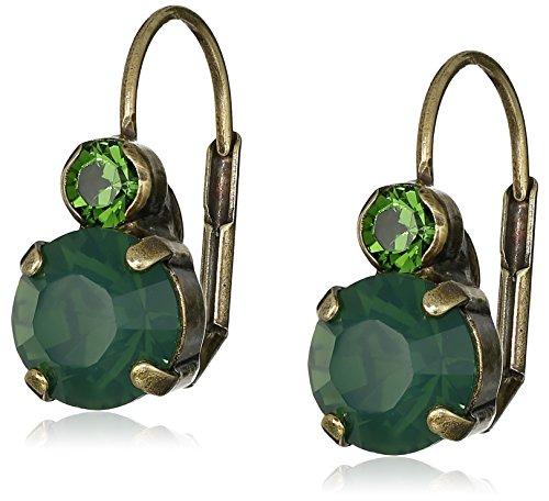 "Sorrelli ""Wild Fern"" Round Crystal French Wire Drop Earrings"